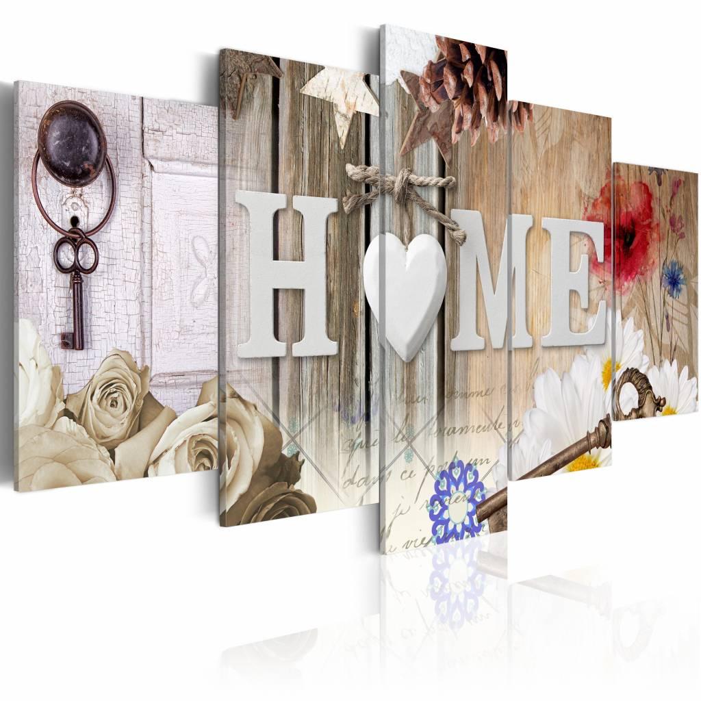 Schilderij - Gevarieerd Huis - Home , wit , multi kleur , 5 luik , 2 maten