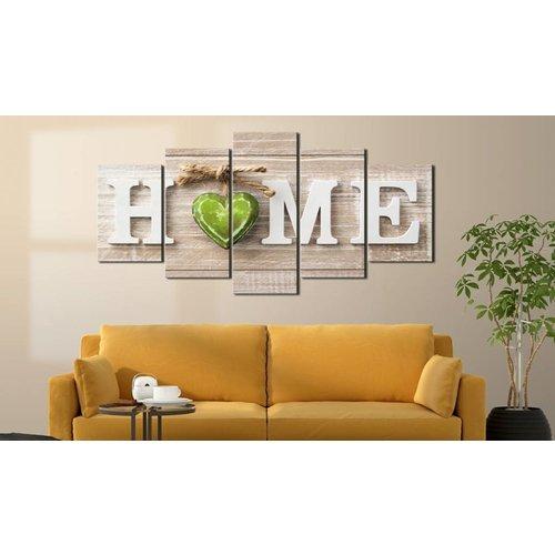 Schilderij - Groen Hart - Home ,  beige groen , beton look , 5 luik