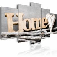 Schilderij - Boom Hut - Home , bruin , hout look , 5 luik