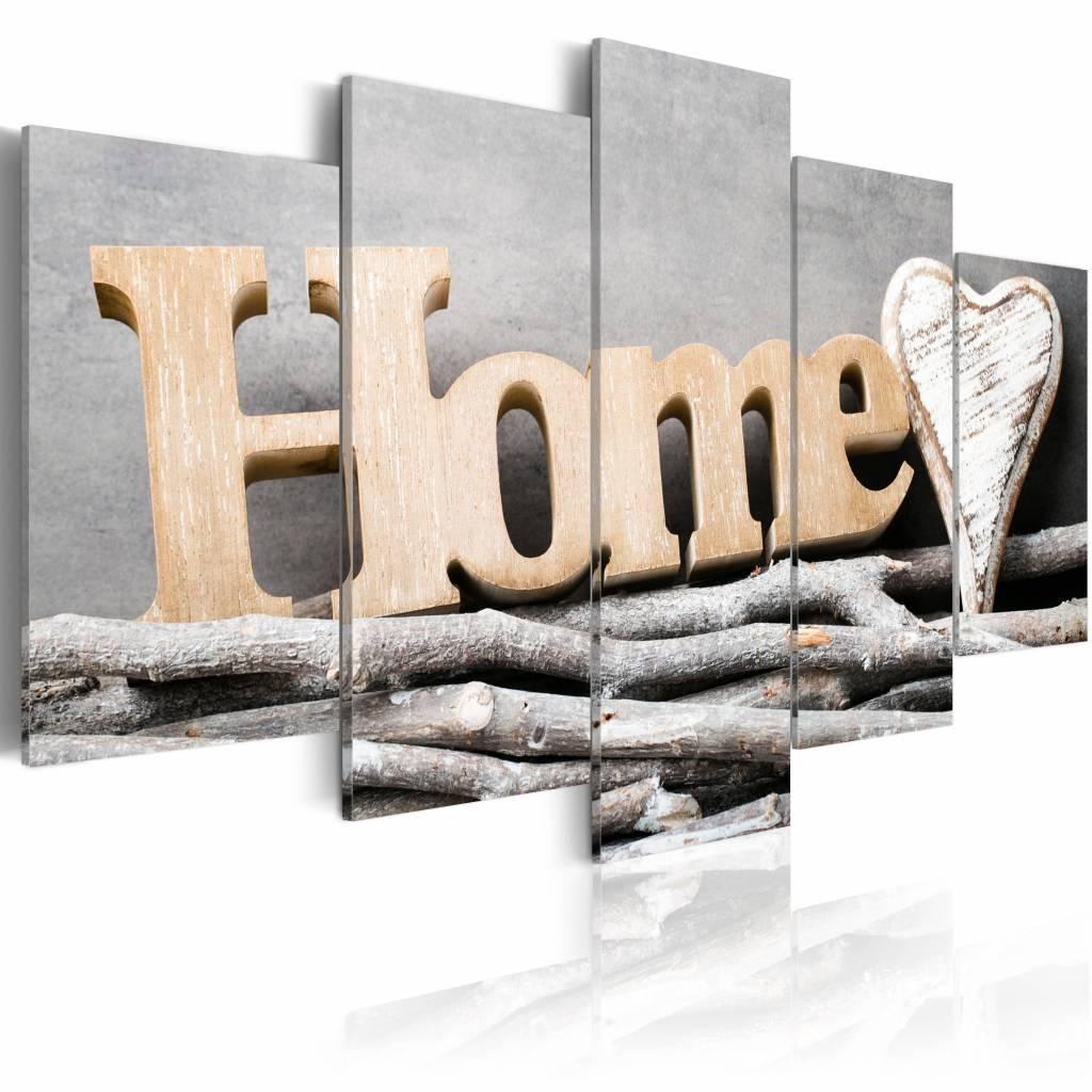 Schilderij - Boom Hut - Home , bruin , hout look , 5 luik , 2 maten
