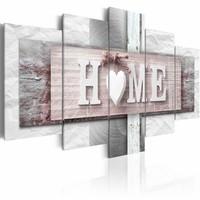 Schilderij - Home: Eclecticisme , roze , hout look , 5 luik