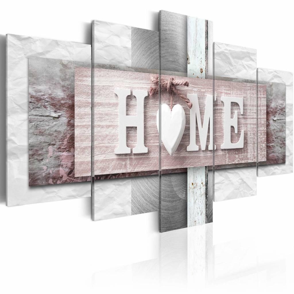 Schilderij - Home: Eclecticisme , roze , hout look , 5 luik , 2 maten