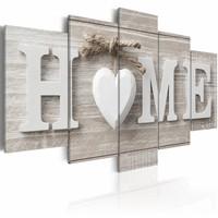 Canvas Schilderij - Liefdes Nest - Home , beton look , 5 luik , 2 maten