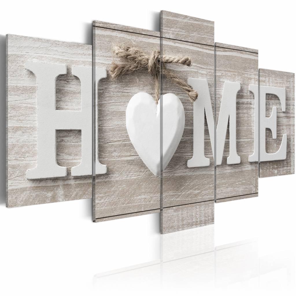 Schilderij - Liefdes Nest - Home , beton look , 5 luik , 2 maten