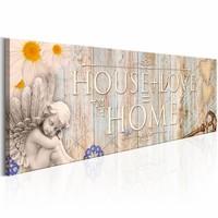 Schilderij - House + Love = Home Vintage 150X50 , beige , hout look , 1 luik