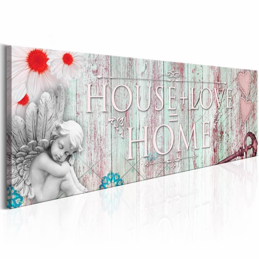 Schilderij - House + Love = Home Rood 150X50 , hout look , 1 Luik