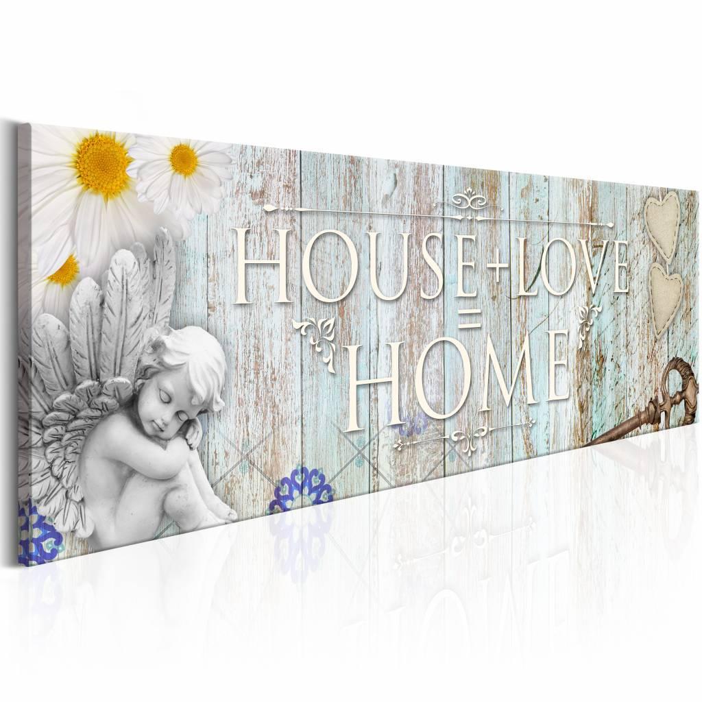 Schilderij - House + Love = Home Geel 150X50 hout look , 1 luik