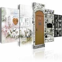 Schilderij - Huis van Liefde - Home , bruin , steen look ,  5 luik