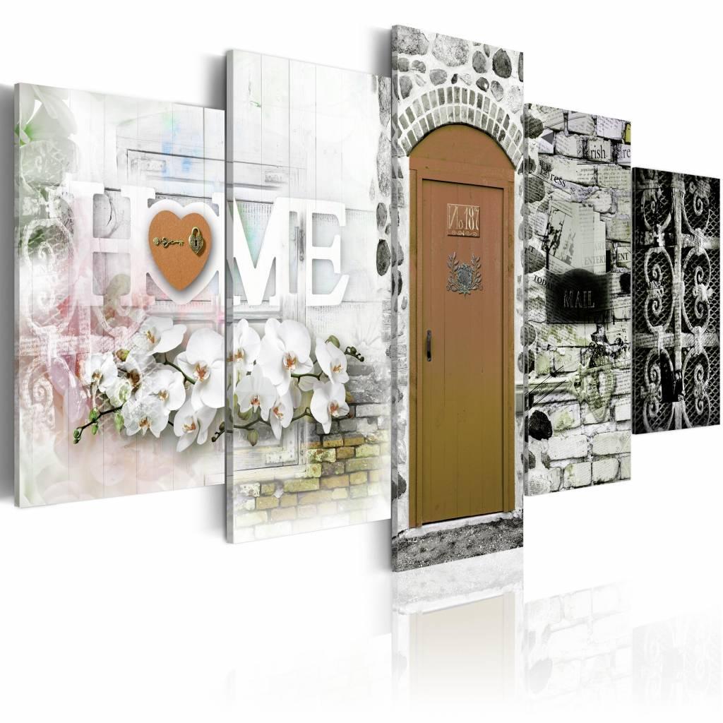 Schilderij - Huis van Liefde - Home , bruin , steen look , 5 luik , 2 maten