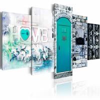 Canvas Schilderij - Retro Huis - Home , blauw , steen look , 5 luik , 2 maten