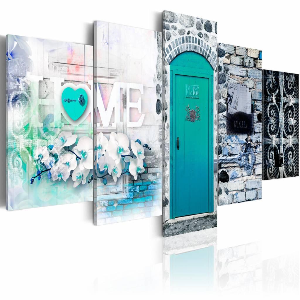 Schilderij - Retro Huis - Home , blauw , steen look , 5 luik