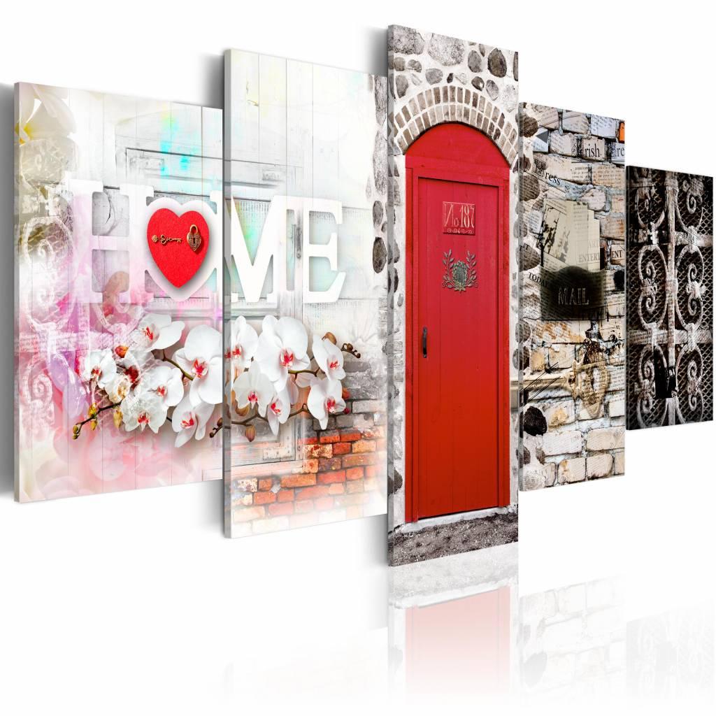 Schilderij - Vintage Huis - Home , rood , steen look , 5 luik , 2 maten