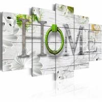 Schilderij - Thuishaven: Home - groen ,  hout look , 5 luik