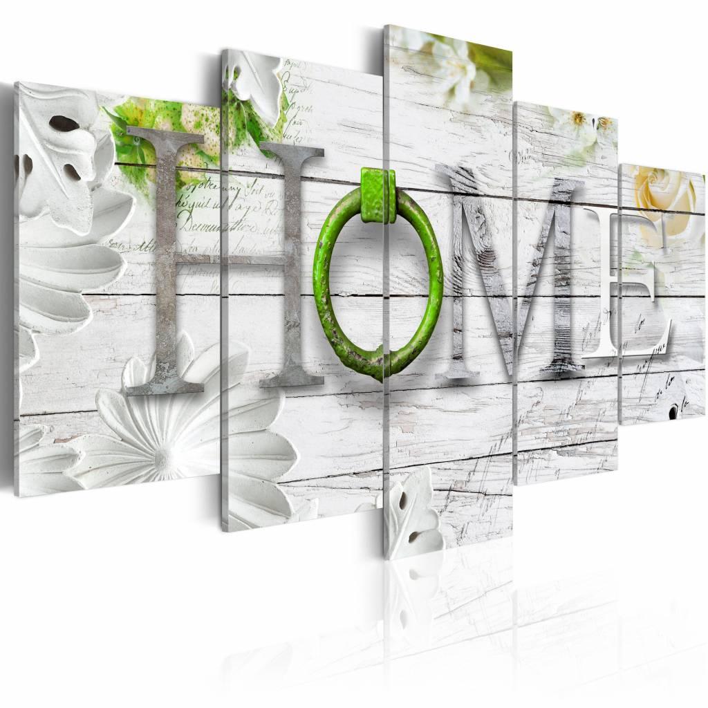 Schilderij - Thuishaven: Home - groen , hout look , 5 luik , 2 maten