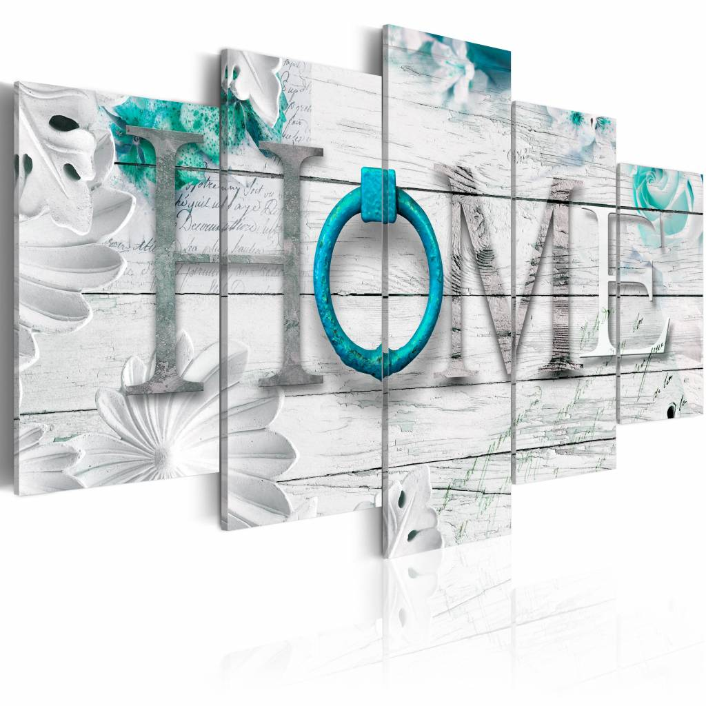 Schilderij - Thuishaven: Home - Blauw , hout look , 5 luik