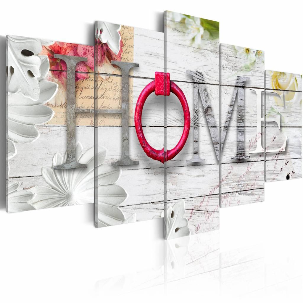 Schilderij - Thuishaven: Home - Rood , hout look , 5 luik , 2 maten