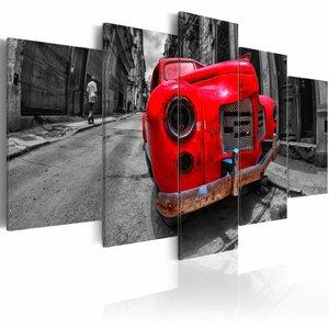 Schilderij -Tijdloze Oldtimer - Rood , 5 luik