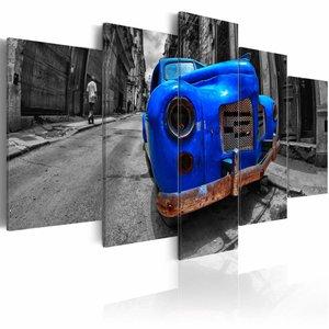 Schilderij -Tijdloze Oldtimer  , Blauw , 5 luik