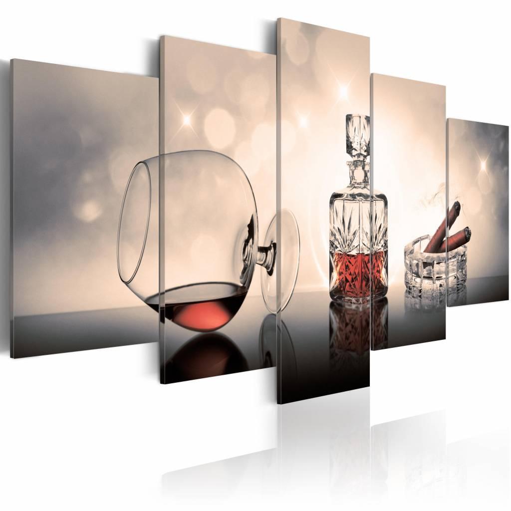 Schilderij - Symbolen van welvaart: Whiskey en Sigaar , bruin beige , 5 luik , 2 maten