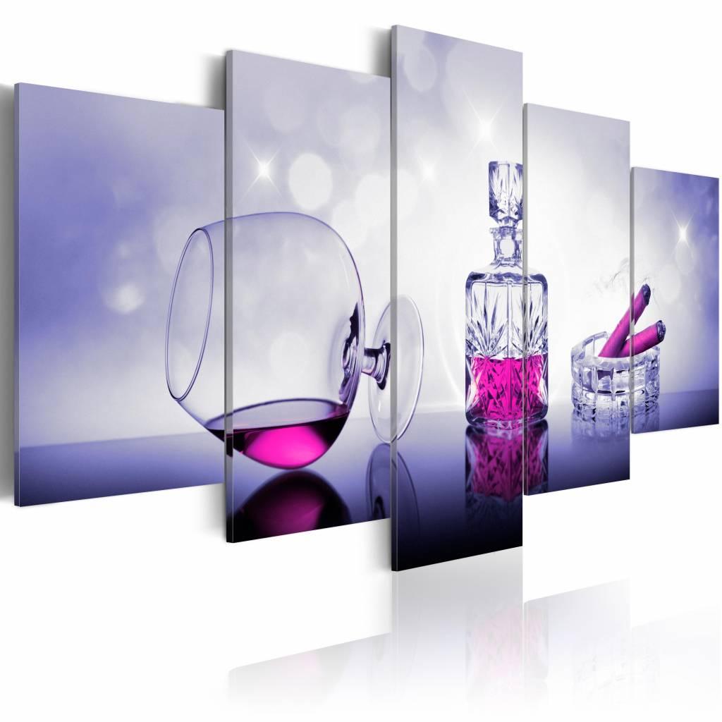 Schilderij - Verleidelijke Avond: Whiskey en Sigaar , roze , 5 luik , 2 maten