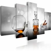 Schilderij - Whisky en sigaar, 5 luik, Bruin/Grijs, 2 maten, Premium print