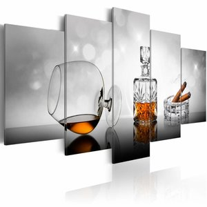 Schilderij - Whisky en sigaar, Grijs/Bruin, 2 Maten, 5luik