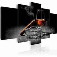 Schilderij - Nachtelijke Entertainment: Whiskey en Sigaar , bruin , 5 luik