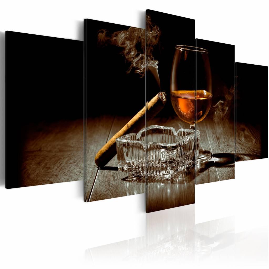 Schilderij - Undercover in de Avond: Whisky en Sigaar , bruin , 5 luik , 2 maten