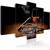 Schilderij - Drank en Sigaar, 5 luik, Zwart/Bruin, 2 maten, Premium print