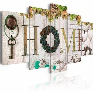Schilderij - Herfst Huis - Home , wit hout look , 5 luik