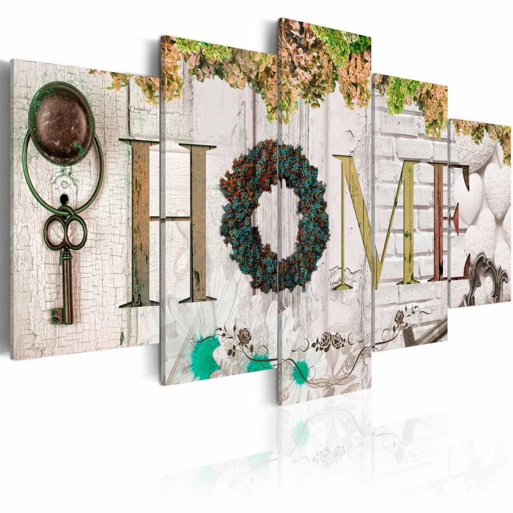 Schilderij - Herfst Huis - Home , wit hout look , 5 luik , 2 maten