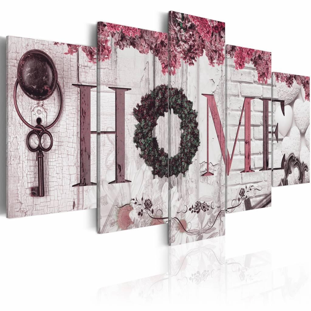 Schilderij - Huis van Herinneringen - Home , wit roze , hout look , 5 luik
