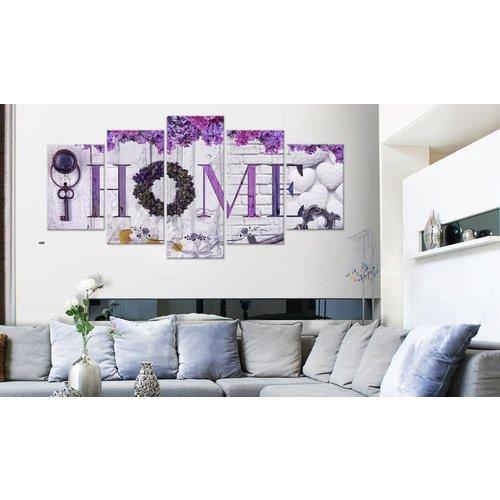Schilderij - Paars thuis, home, 5luik