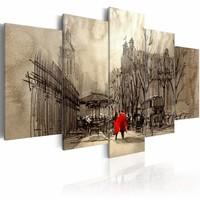 Schilderij - Romantische wandeling, Bruin/Rood, 2 Maten, 5luik