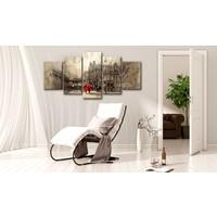 Schilderij - Romantische wandeling, 5 luik, Beige/Zwart/Rood, 2 maten, Premium print