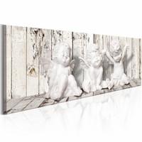Schilderij - Lachende engelen, Beige/Wit, 2 Maten, 1luik