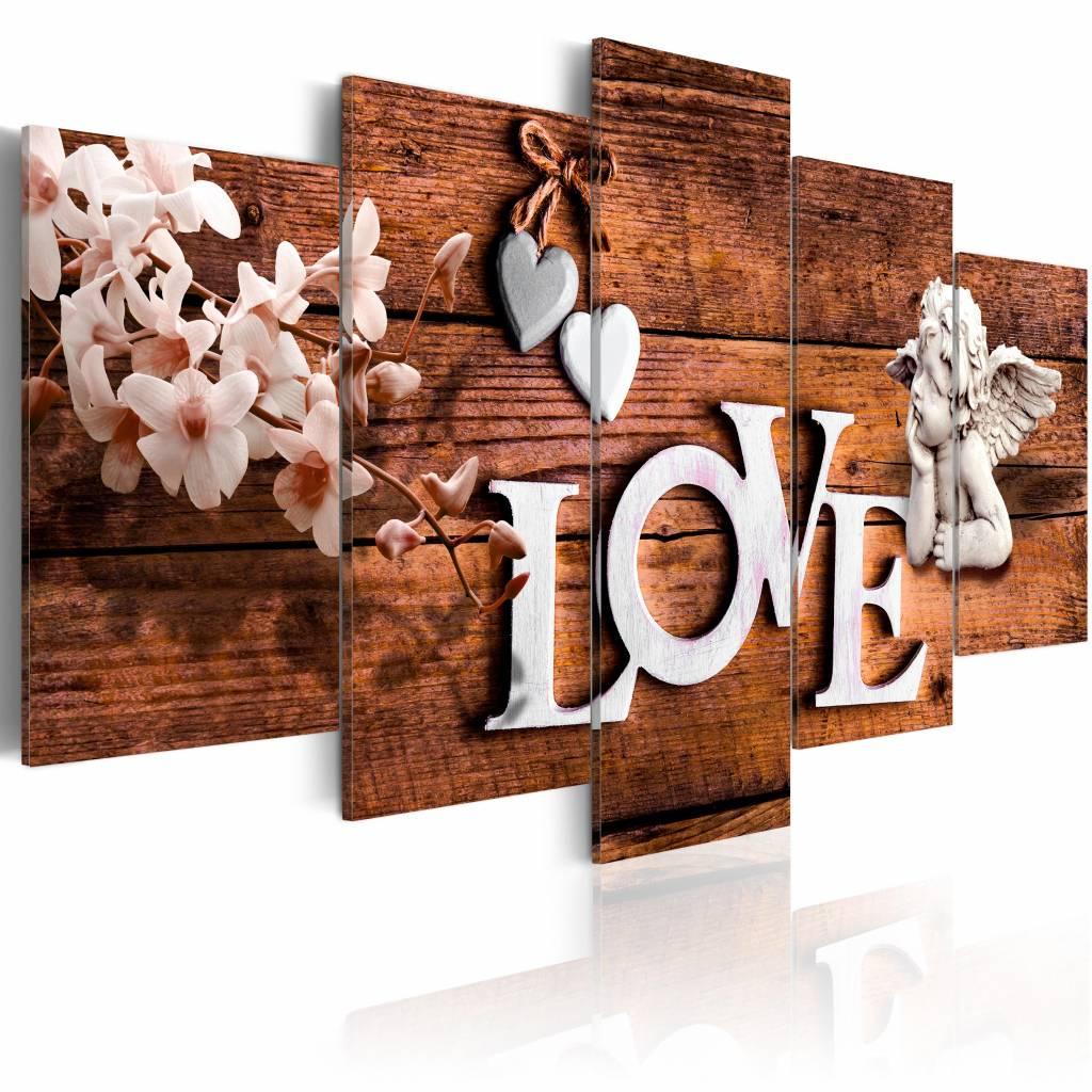 Schilderij - House of Love, liefde en engeltjes, 5 luik, Bruin/Wit, 2 maten, Premium print
