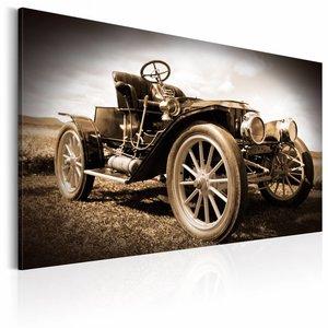 Canvas Schilderij - Retro Car, Oldtimer, Sepia, 2 Maten, 1luik