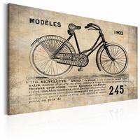 Schilderij -Model N° 1245 - Fiets, Sepia, 2 Maten, 1luik