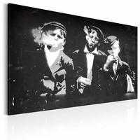 Canvas Schilderij - Street Gang (Retro style), Zwart-Wit, 2 Maten, 1luik