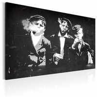 Schilderij - Street Gang (Retro style), Zwart-Wit, 2 Maten, 1luik