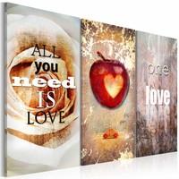 Canvas Schilderij - All you need is love, Multi-gekleurd, 2 Maten, 3luik