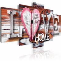 Schilderij - Love Home, Multi-gekleurd, 2 Maten, 5luik
