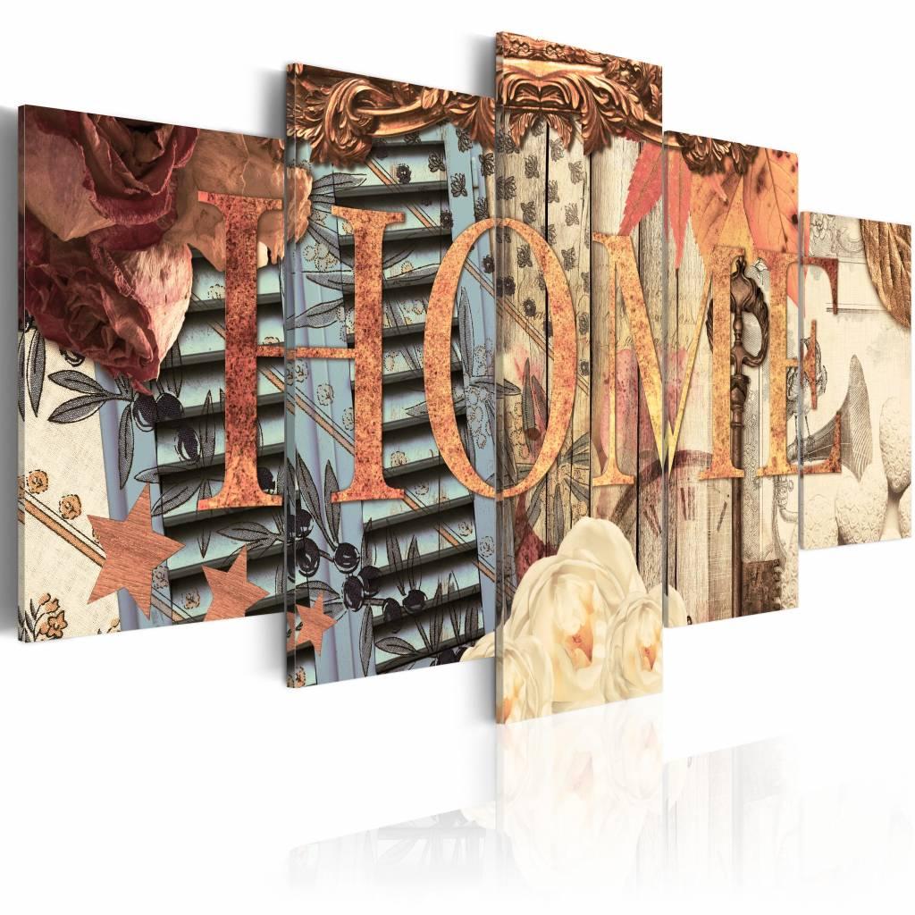 Schilderij - Home (Retro) , bruin hout look , 5 luik , 2 maten