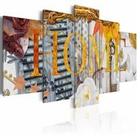 Canvas Schilderij - Home (Variety), thuis, Geel, 2 Maten, 5luik
