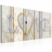 Canvas Schilderij - Vintage Love, Beige/Wit, 120X60, 3luik