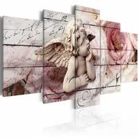 Schilderij - Dagdromende engel , Roze, 2 Maten, 5luik