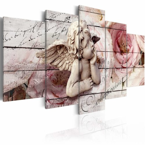 Schilderij - Dagdromende engel , Roze, 5luik