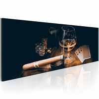 Schilderij - Stijlvol Entertainen: Whiskey en Sigaar 150X50cm  , bruin zwart , 1 luik