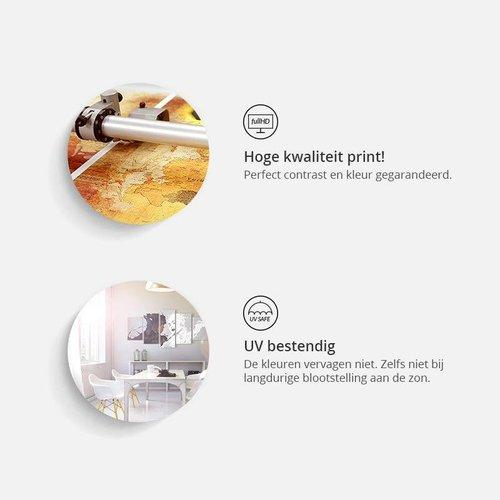 Schilderij - Mannen wereld, 5 Luik, Bruin/Zwart, 2 maten, Premium print